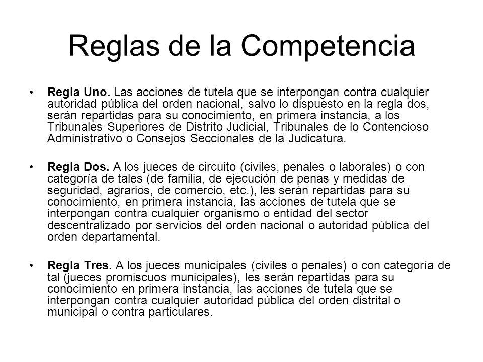 Reglas de la Competencia Regla Uno.