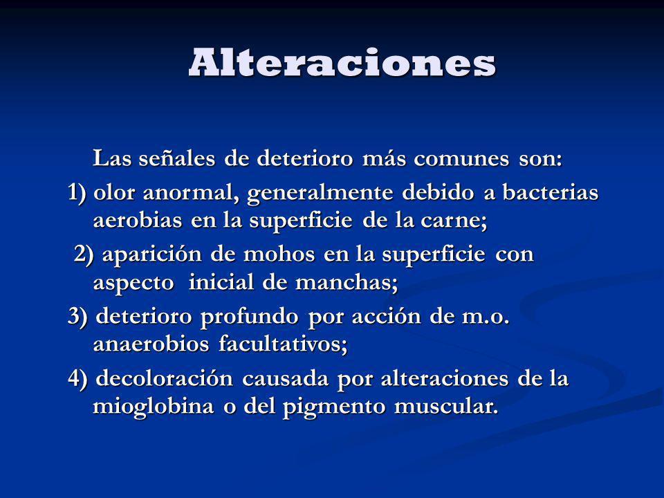 Alteraciones Las señales de deterioro más comunes son: 1) olor anormal, generalmente debido a bacterias aerobias en la superficie de la carne; 2) apar