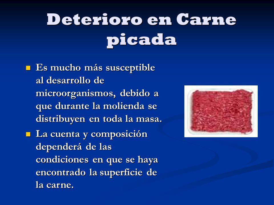 Deterioro en Carne picada Es mucho más susceptible al desarrollo de microorganismos, debido a que durante la molienda se distribuyen en toda la masa.