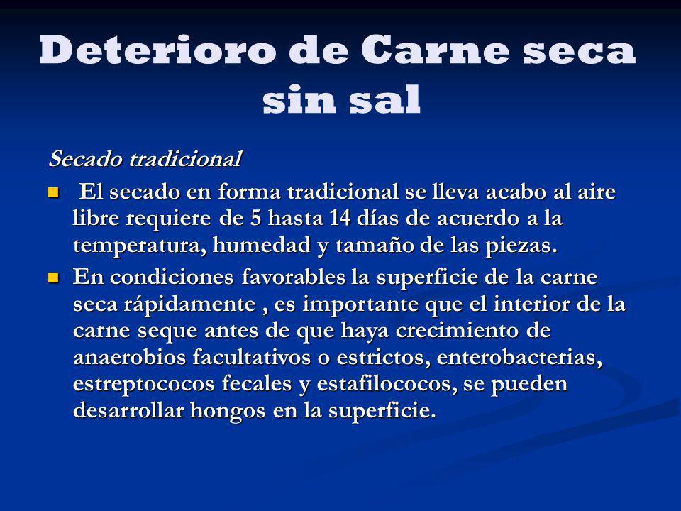 Deterioro de Carne seca sin sal Secado tradicional El secado en forma tradicional se lleva acabo al aire libre requiere de 5 hasta 14 días de acuerdo