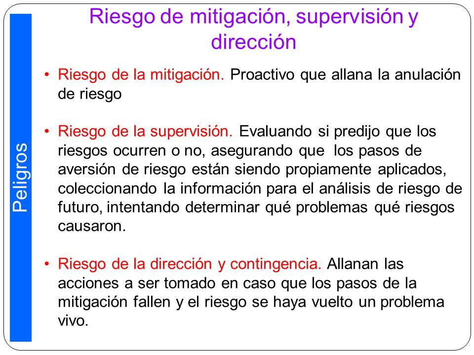 Riesgo de mitigación, supervisión y dirección Riesgo de la mitigación.