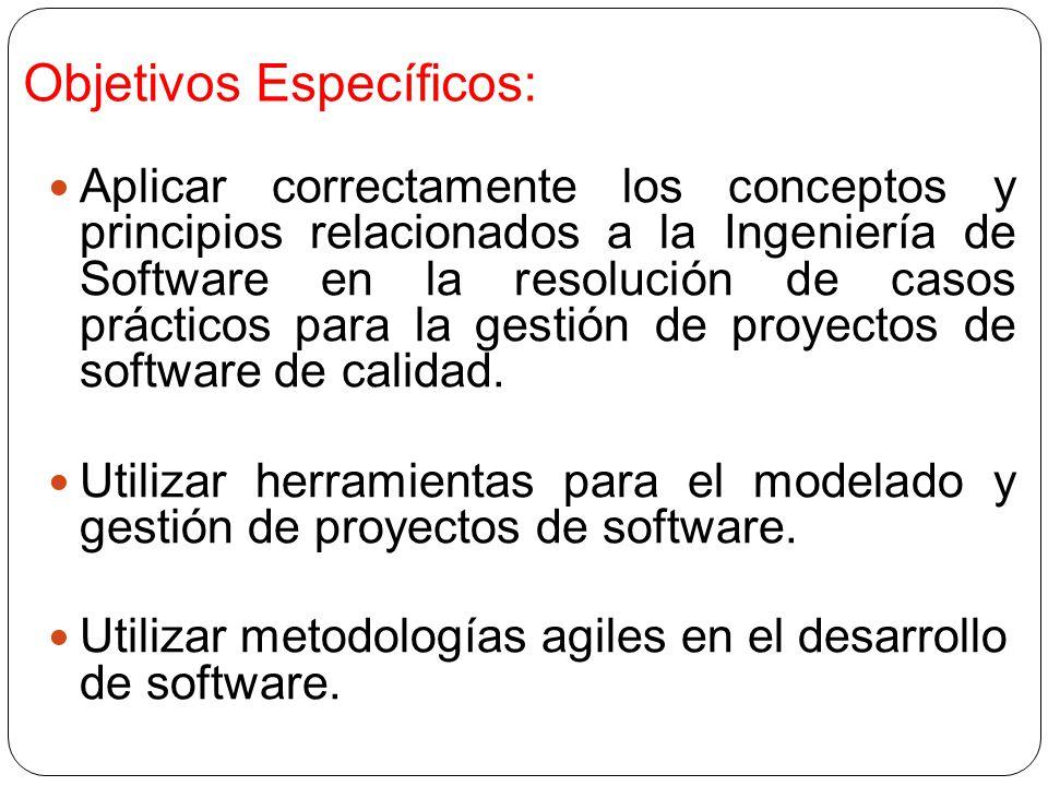 Objetivos Específicos: Aplicar correctamente los conceptos y principios relacionados a la Ingeniería de Software en la resolución de casos prácticos para la gestión de proyectos de software de calidad.