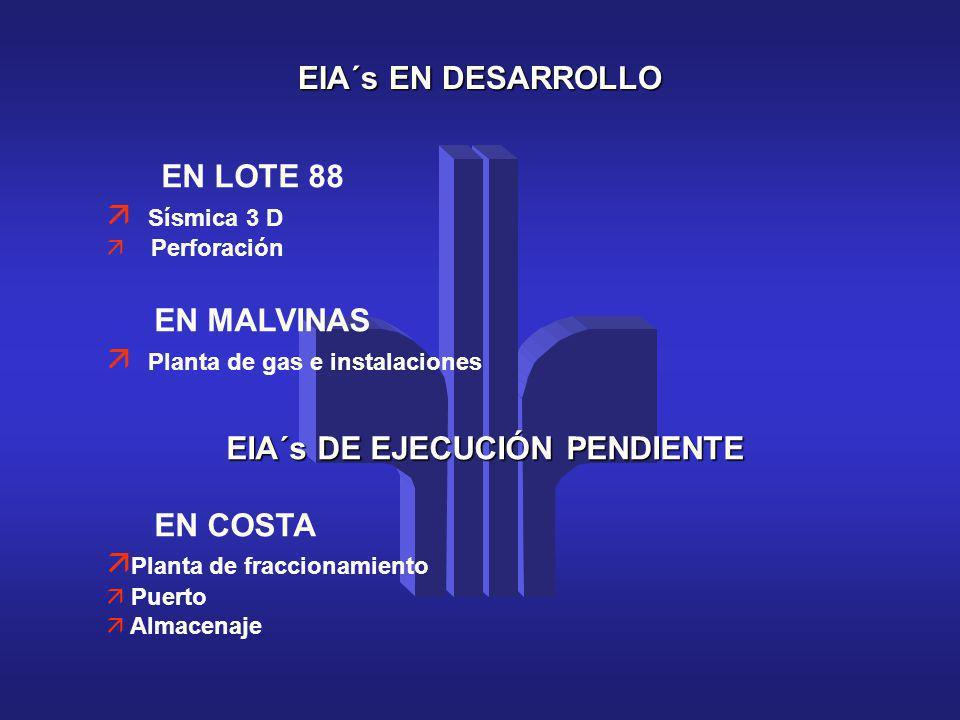 EIA´s EN DESARROLLO EN LOTE 88 ä Sísmica 3 D Perforación EN MALVINAS Planta de gas e instalaciones EIA´s DE EJECUCIÓN PENDIENTE EN COSTA ä Planta de f