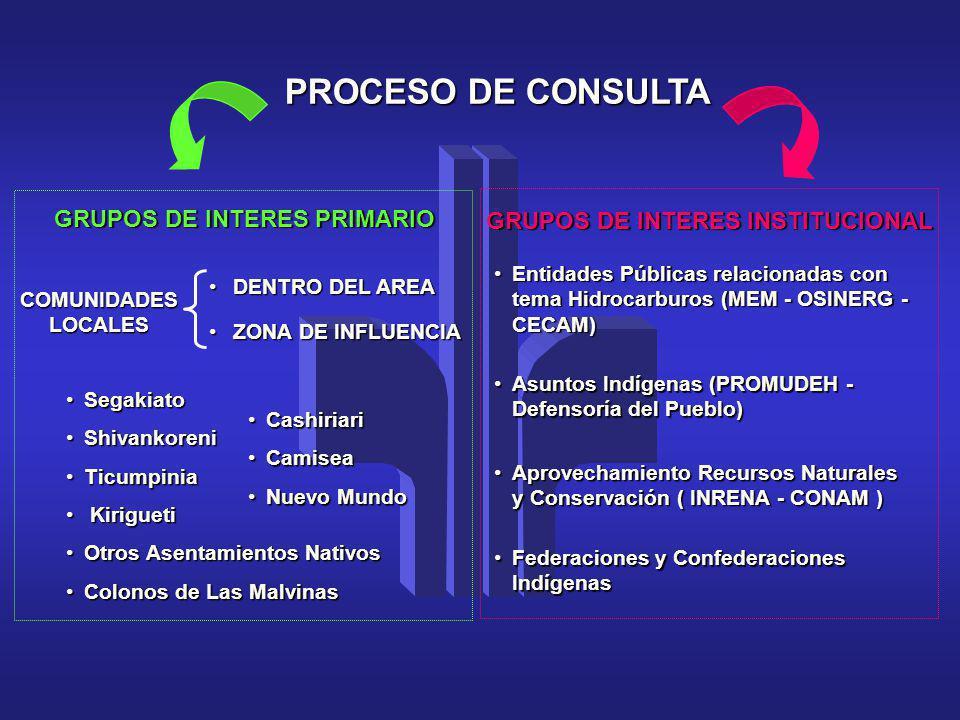 PROCESO DE CONSULTA GRUPOS DE INTERES PRIMARIO GRUPOS DE INTERES INSTITUCIONAL COMUNIDADES LOCALES DENTRO DEL AREADENTRO DEL AREA ZONA DE INFLUENCIAZO