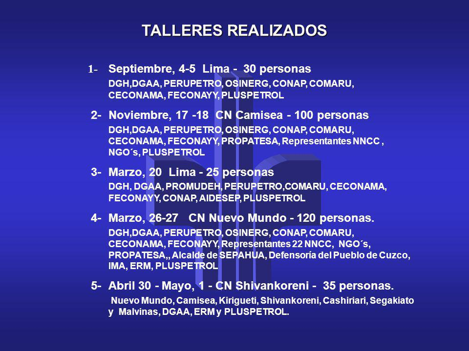 TALLERES REALIZADOS 1- Septiembre, 4-5 Lima - 30 personas DGH,DGAA, PERUPETRO, OSINERG, CONAP, COMARU, CECONAMA, FECONAYY, PLUSPETROL 2- Noviembre, 17