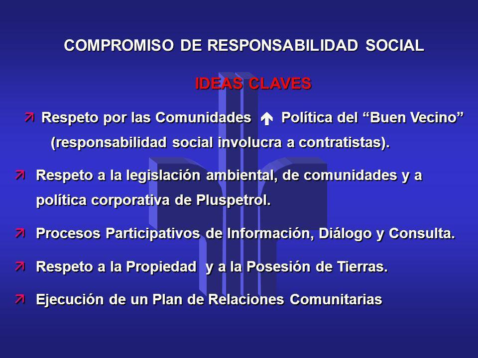 COMPROMISO DE RESPONSABILIDAD SOCIAL IDEAS CLAVES äRespeto por las Comunidades Política del Buen Vecino (responsabilidad social involucra a contratist