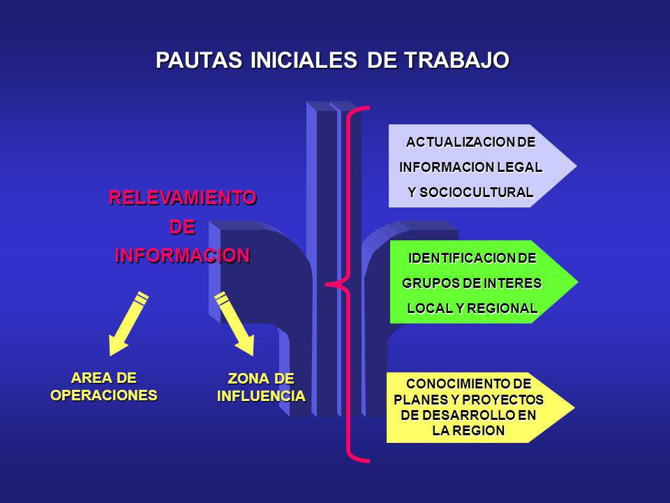 PAUTAS INICIALES DE TRABAJO RELEVAMIENTO DE INFORMACION ACTUALIZACION DE INFORMACION LEGAL Y SOCIOCULTURAL IDENTIFICACION DE GRUPOS DE INTERES LOCAL Y