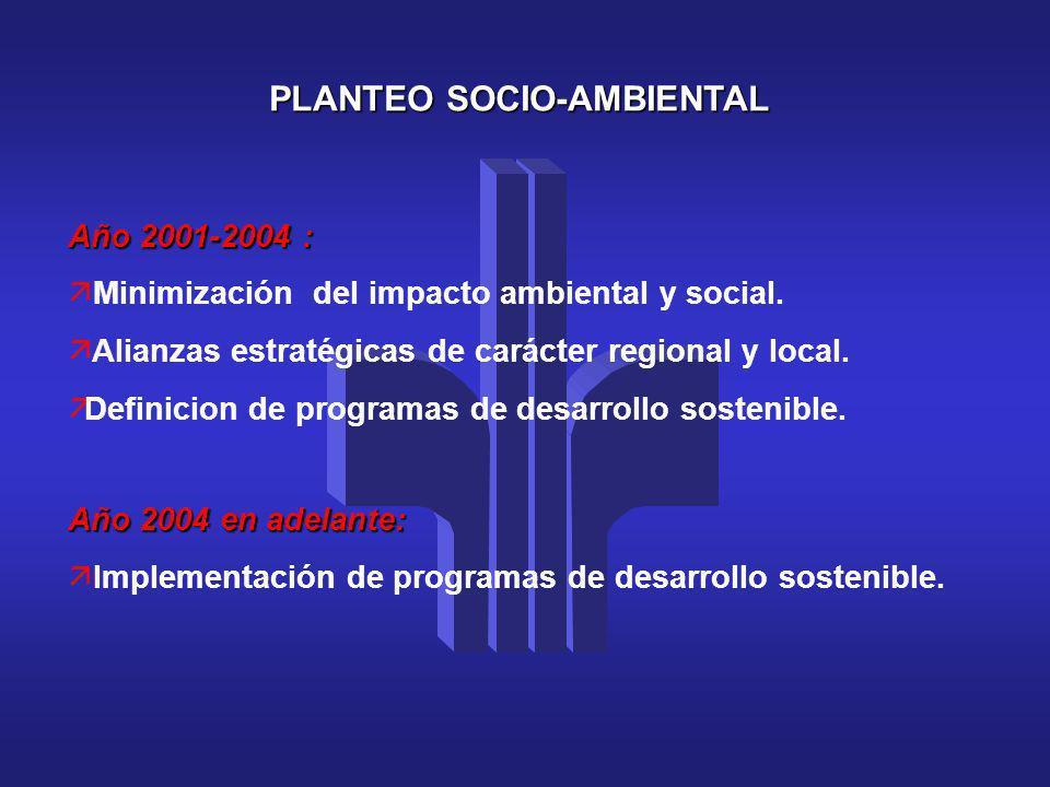 PLANTEO SOCIO-AMBIENTAL Año 2001-2004 : ä Minimización del impacto ambiental y social. ä Alianzas estratégicas de carácter regional y local. äDefinici