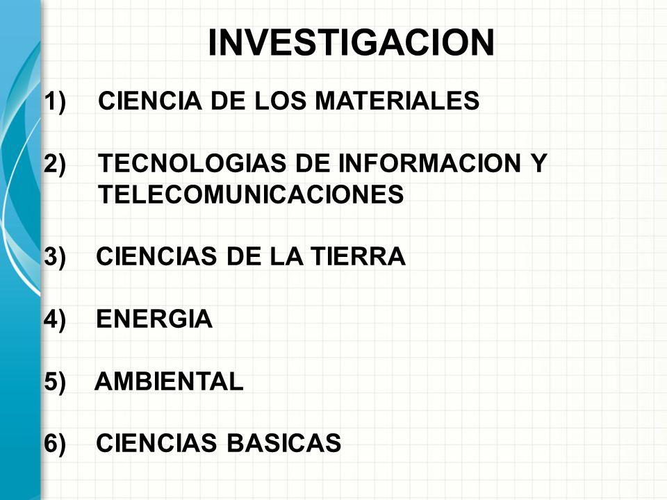 INVESTIGACION 1)CIENCIA DE LOS MATERIALES 2)TECNOLOGIAS DE INFORMACION Y TELECOMUNICACIONES 3) CIENCIAS DE LA TIERRA 4) ENERGIA 5) AMBIENTAL 6) CIENCIAS BASICAS