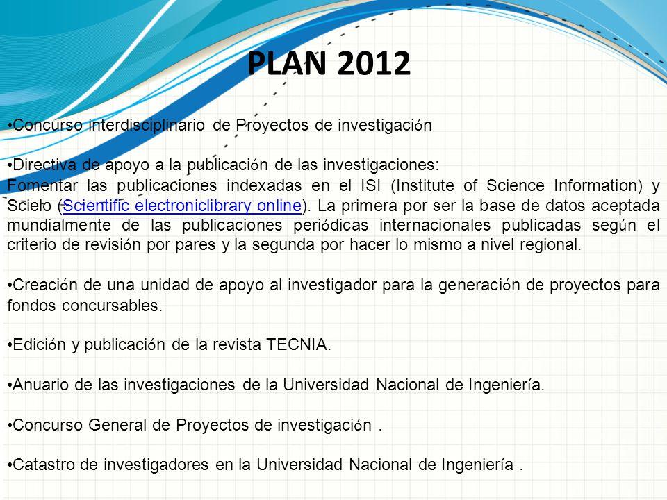 Concurso interdisciplinario de Proyectos de investigaci ó n Directiva de apoyo a la publicaci ó n de las investigaciones: Fomentar las publicaciones i