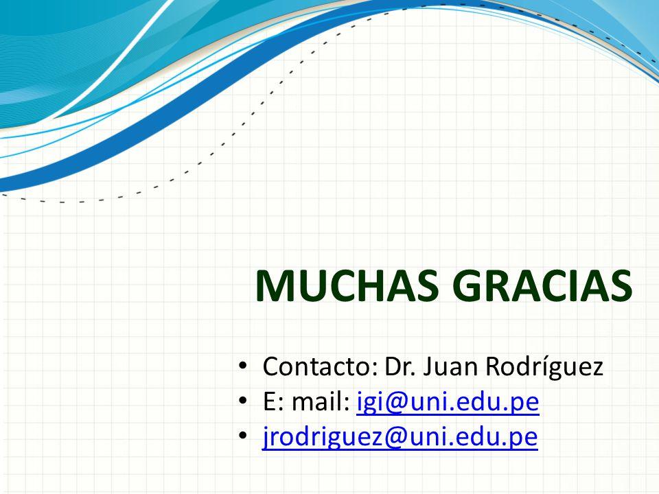 MUCHAS GRACIAS Contacto: Dr. Juan Rodríguez E: mail: igi@uni.edu.peigi@uni.edu.pe jrodriguez@uni.edu.pe