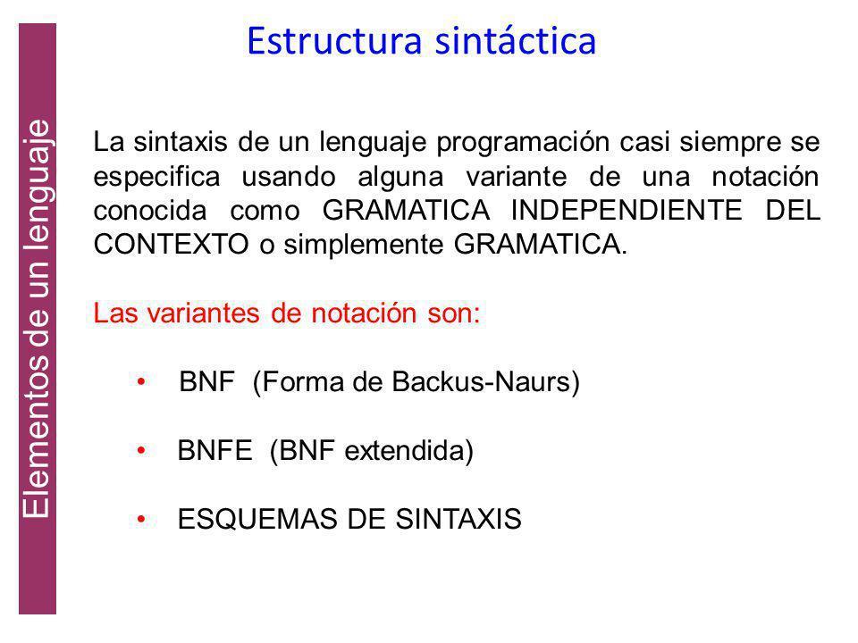 Estructura sintáctica La sintaxis de un lenguaje especifica como están construidos los programas en dicho lenguaje. La estructura sintáctica, es decir