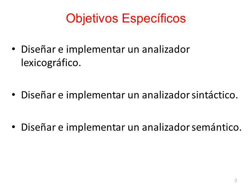 Objetivos Específicos Diseñar e implementar un analizador lexicográfico.