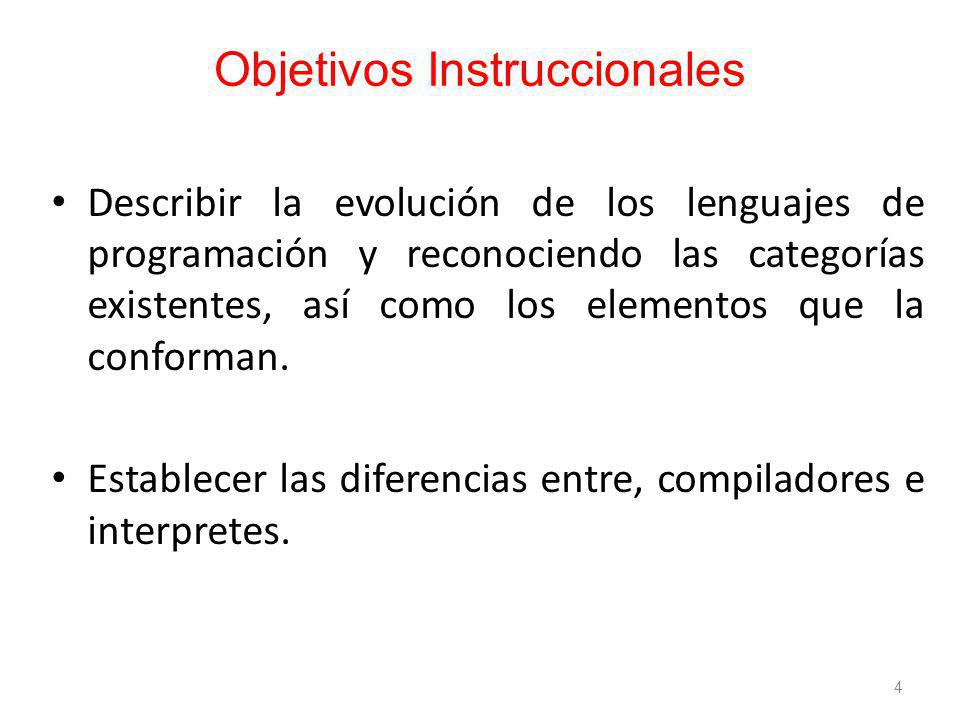 Objetivos Instruccionales Describir la evolución de los lenguajes de programación y reconociendo las categorías existentes, así como los elementos que la conforman.