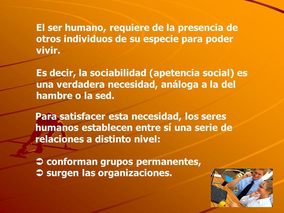 Para satisfacer esta necesidad, los seres humanos establecen entre sí una serie de relaciones a distinto nivel: conforman grupos permanentes, surgen l