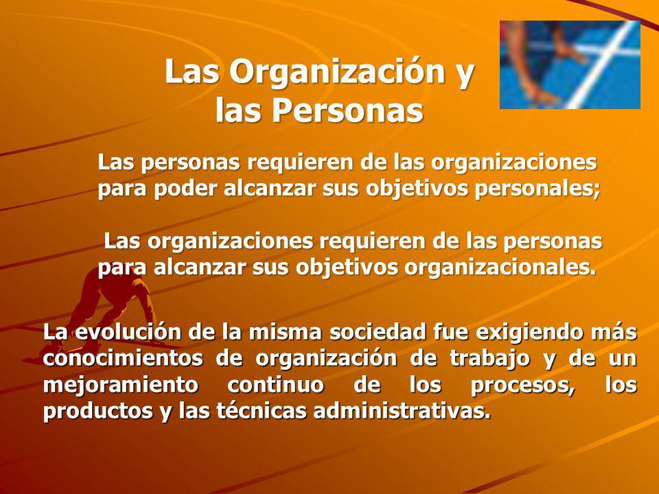 Las personas requieren de las organizaciones para poder alcanzar sus objetivos personales; Las organizaciones requieren de las personas para alcanzar