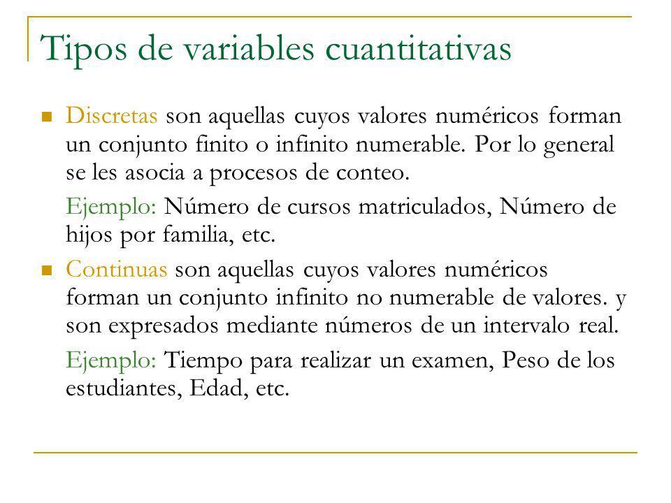 Tipos de variables cuantitativas Discretas son aquellas cuyos valores numéricos forman un conjunto finito o infinito numerable. Por lo general se les