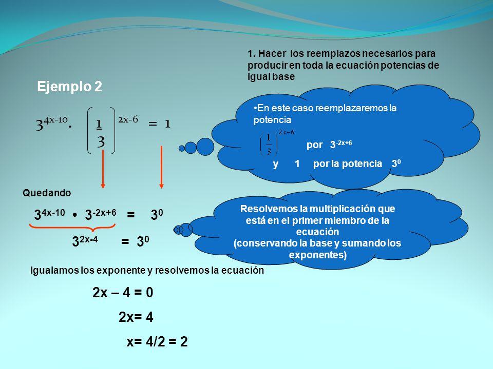 Ejemplo 2 3 4x-10. 1 2x-6 = 1 3 1. Hacer los reemplazos necesarios para producir en toda la ecuación potencias de igual base En este caso reemplazarem
