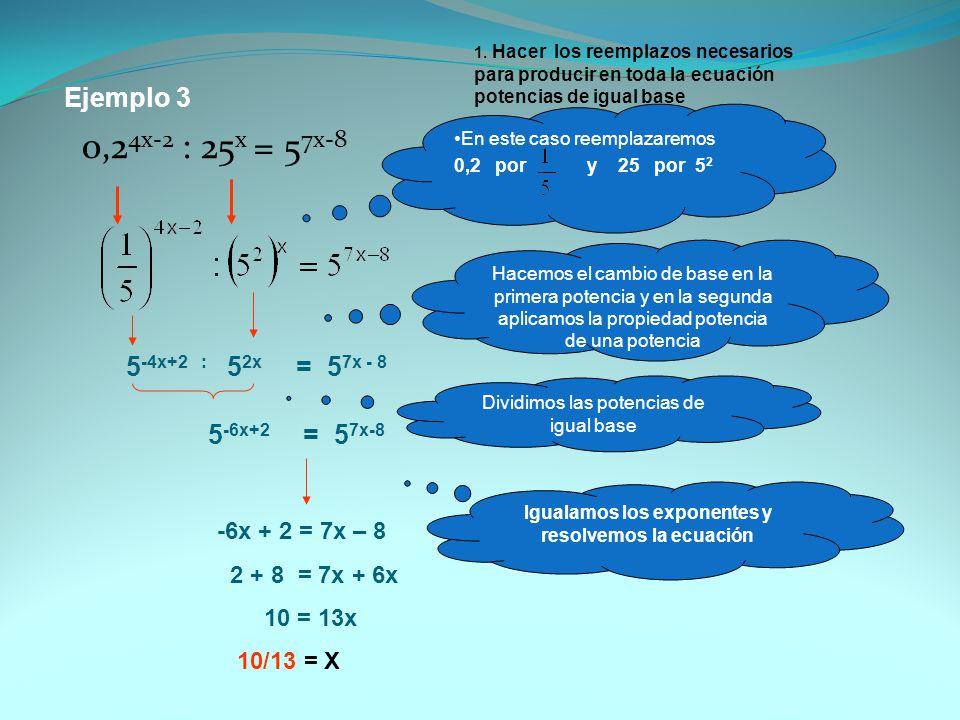 Ejemplo 3 0,2 4x-2 : 25 x = 5 7x-8 1. Hacer los reemplazos necesarios para producir en toda la ecuación potencias de igual base En este caso reemplaza