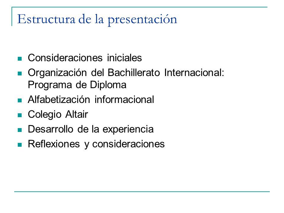 Estructura de la presentación Consideraciones iniciales Organización del Bachillerato Internacional: Programa de Diploma Alfabetización informacional