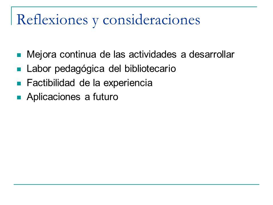 Reflexiones y consideraciones Mejora continua de las actividades a desarrollar Labor pedagógica del bibliotecario Factibilidad de la experiencia Aplic