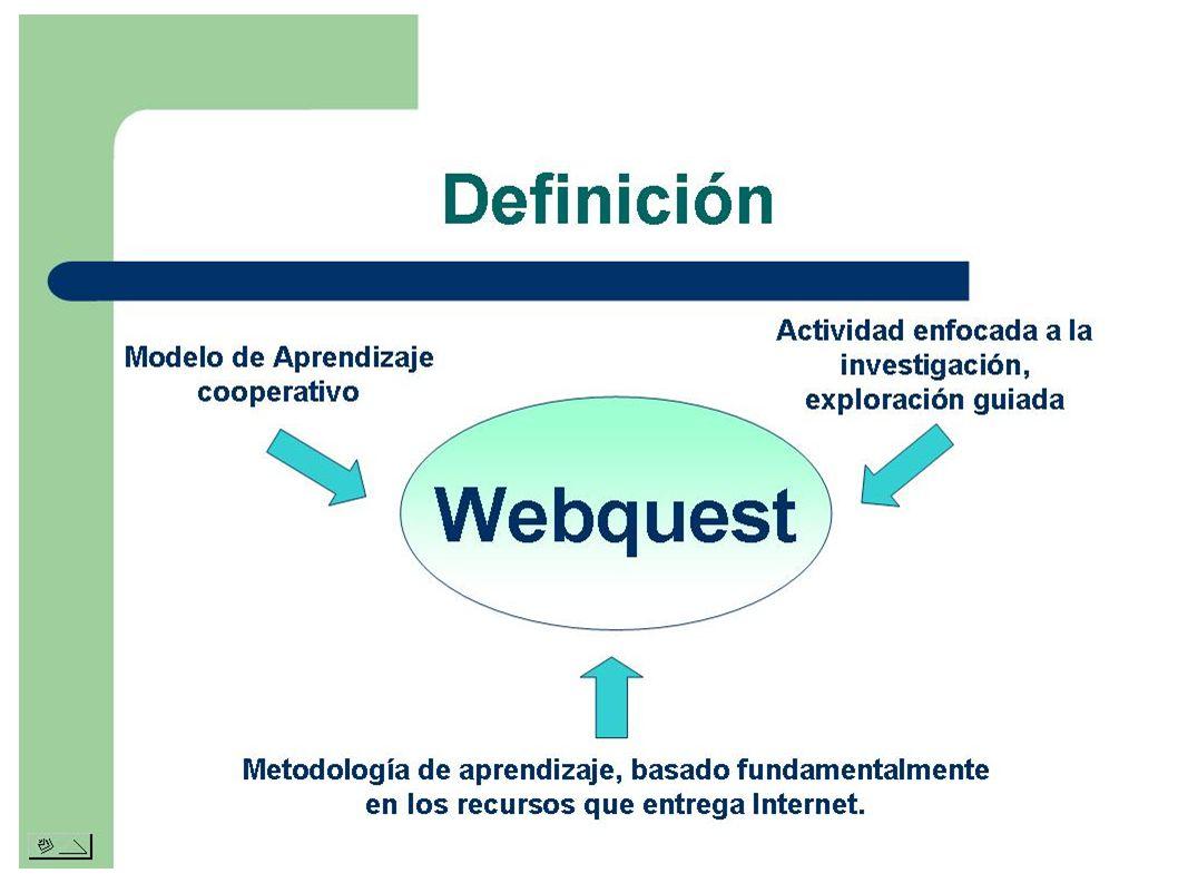 WEBQUEST WebQuests son actividades estructuradas y guiadas que evitan estos obstáculos proporcionando a los alumnos una tarea bien definida, así como