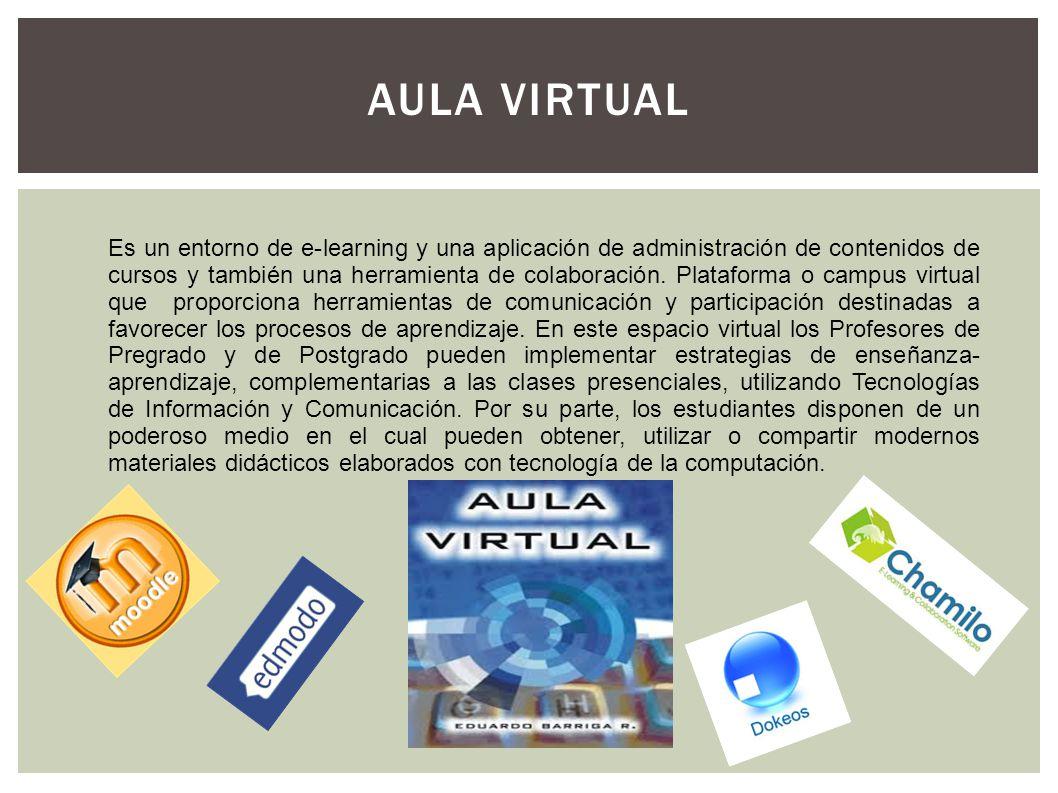 AULA VIRTUAL Es un entorno de e-learning y una aplicación de administración de contenidos de cursos y también una herramienta de colaboración. Platafo