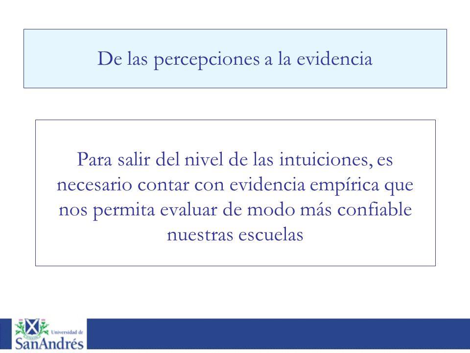 De las percepciones a la evidencia Para salir del nivel de las intuiciones, es necesario contar con evidencia empírica que nos permita evaluar de modo