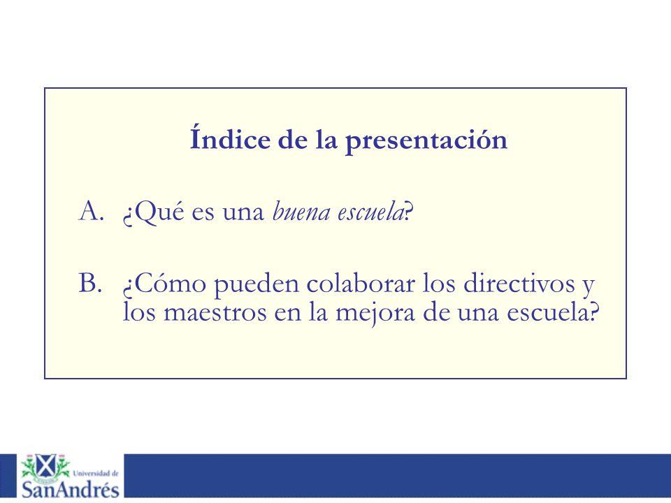 Índice de la presentación A.¿Qué es una buena escuela? B.¿Cómo pueden colaborar los directivos y los maestros en la mejora de una escuela?