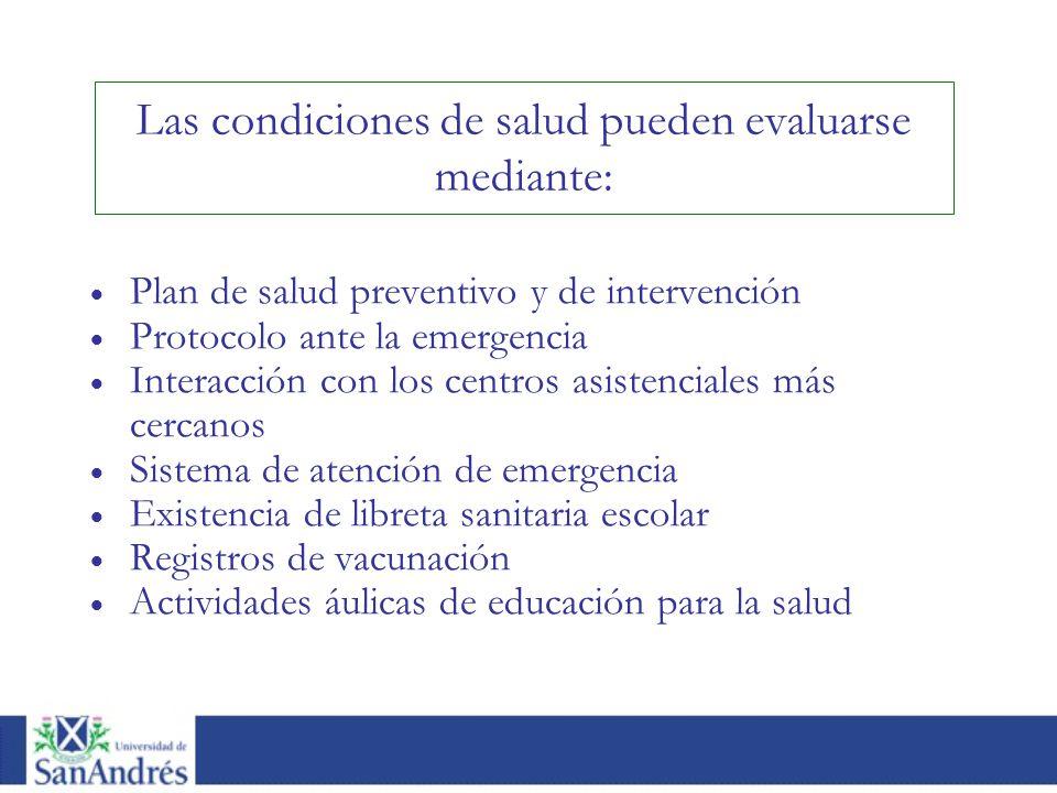 Las condiciones de salud pueden evaluarse mediante: Plan de salud preventivo y de intervención Protocolo ante la emergencia Interacción con los centro
