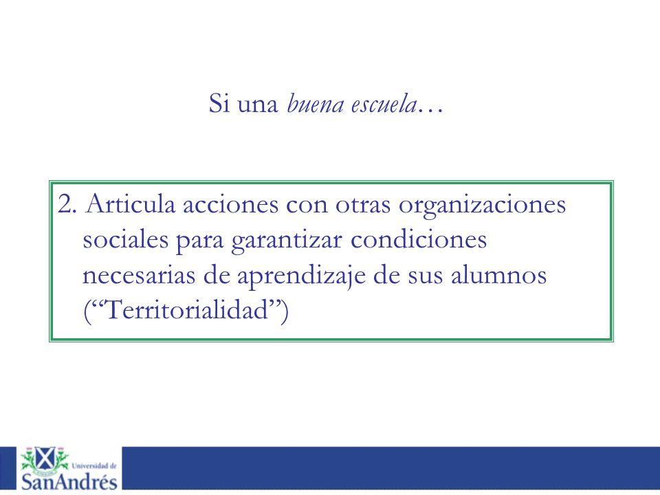 2. Articula acciones con otras organizaciones sociales para garantizar condiciones necesarias de aprendizaje de sus alumnos (Territorialidad) Si una b