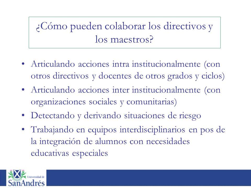 Articulando acciones intra institucionalmente (con otros directivos y docentes de otros grados y ciclos) Articulando acciones inter institucionalmente