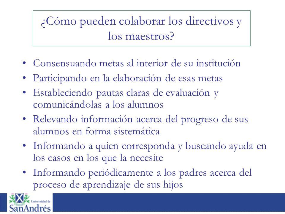Consensuando metas al interior de su institución Participando en la elaboración de esas metas Estableciendo pautas claras de evaluación y comunicándol
