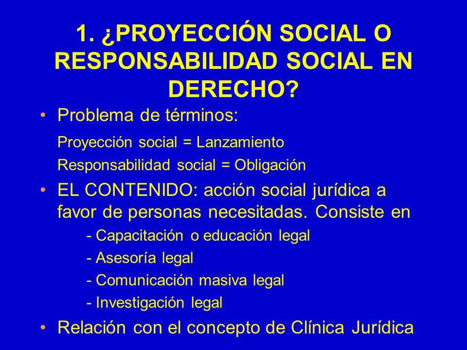 1. ¿PROYECCIÓN SOCIAL O RESPONSABILIDAD SOCIAL EN DERECHO? Problema de términos: Proyección social = Lanzamiento Responsabilidad social = Obligación E