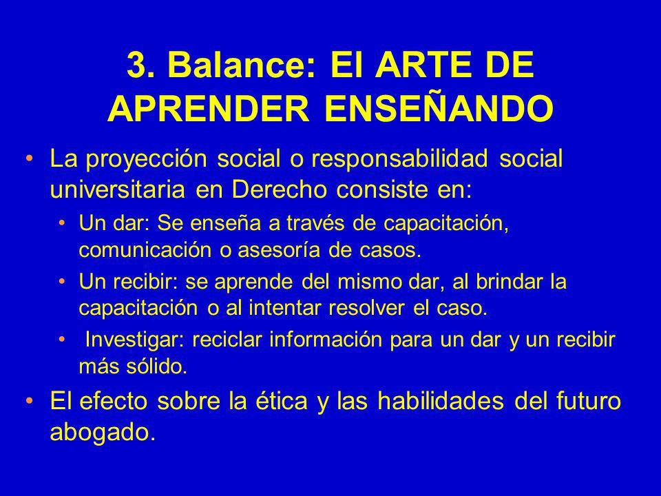 3. Balance: El ARTE DE APRENDER ENSEÑANDO La proyección social o responsabilidad social universitaria en Derecho consiste en: Un dar: Se enseña a trav