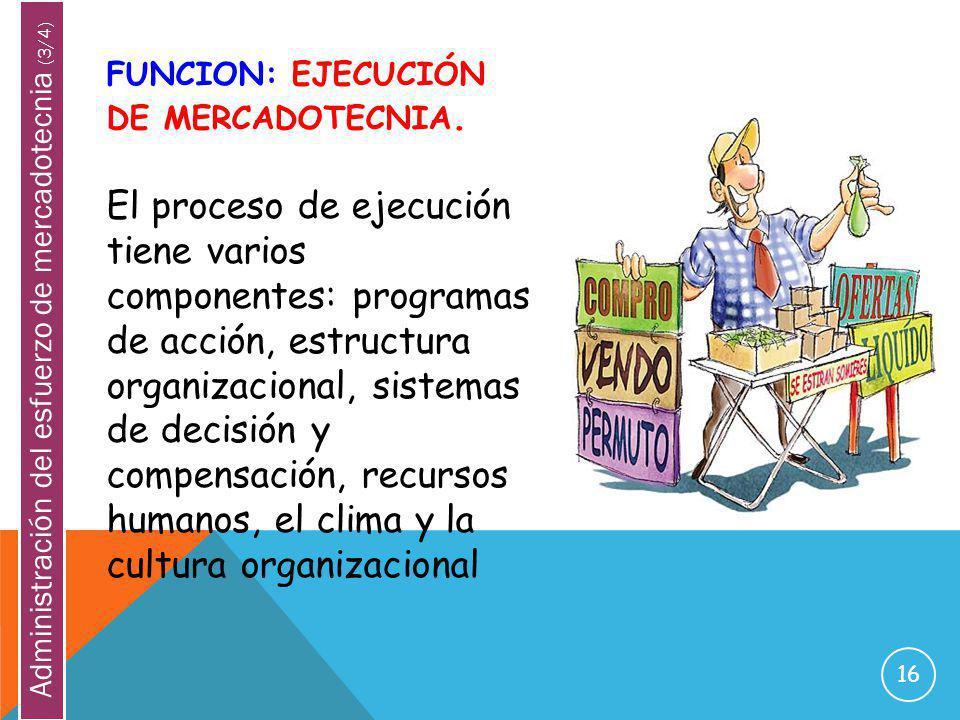 16 FUNCION: EJECUCIÓN DE MERCADOTECNIA. El proceso de ejecución tiene varios componentes: programas de acción, estructura organizacional, sistemas de