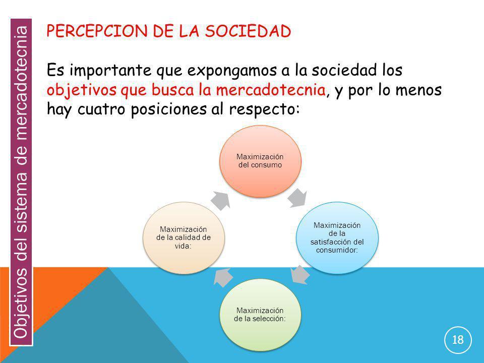 18 PERCEPCION DE LA SOCIEDAD Es importante que expongamos a la sociedad los objetivos que busca la mercadotecnia, y por lo menos hay cuatro posiciones