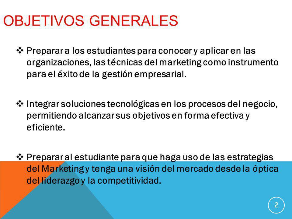 OBJETIVOS ESPECÍFICOS Comprender que es el marketing y su utilidad para diseñar y desarrollar nuevos productos.