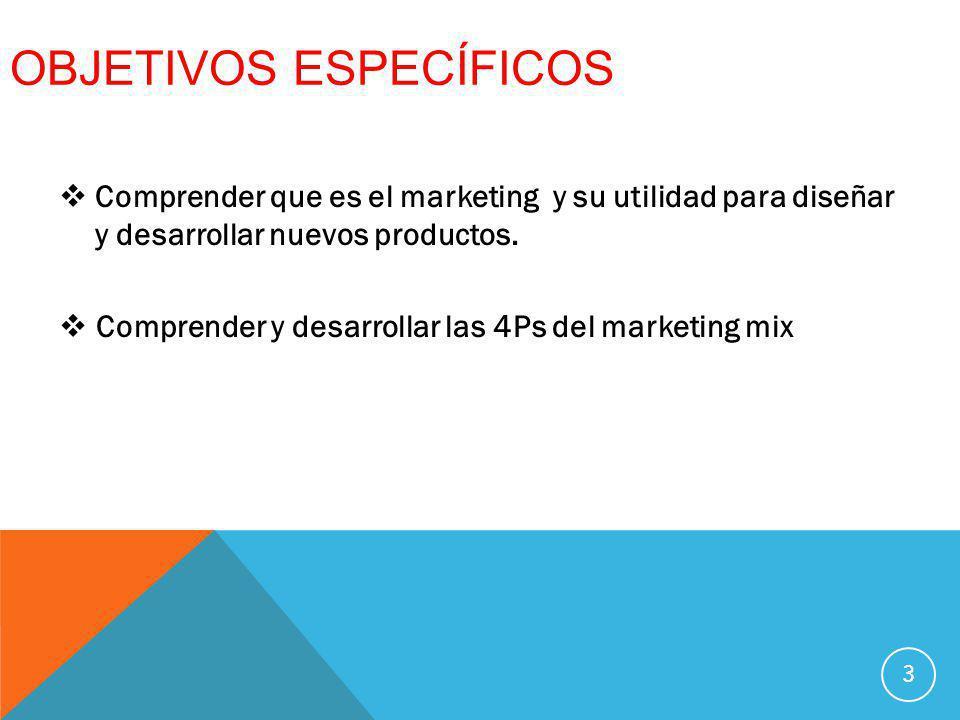 OBJETIVOS ESPECÍFICOS Comprender que es el marketing y su utilidad para diseñar y desarrollar nuevos productos. Comprender y desarrollar las 4Ps del m