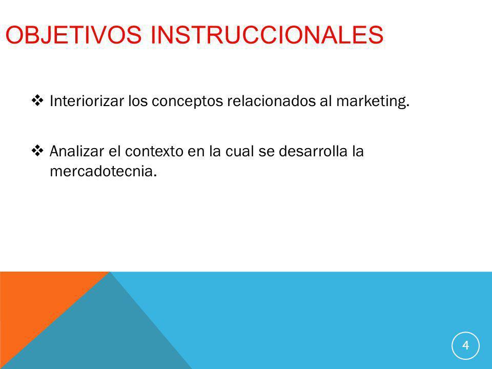 OBJETIVOS INSTRUCCIONALES Interiorizar los conceptos relacionados al marketing. Analizar el contexto en la cual se desarrolla la mercadotecnia. 4