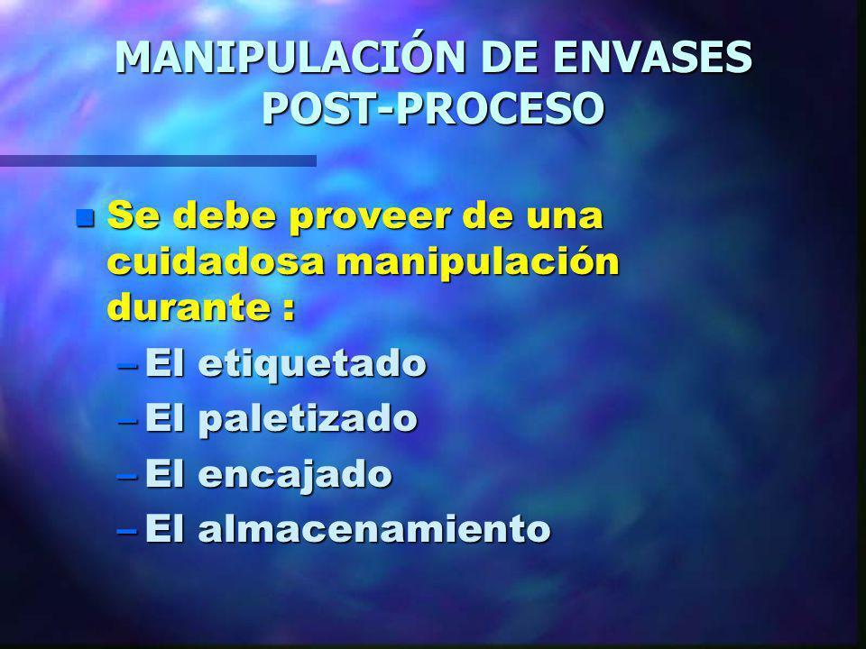 MANIPULACIÓN DE ENVASES POST-PROCESO n Se debe proveer de una cuidadosa manipulación durante : –El etiquetado –El paletizado –El encajado –El almacena