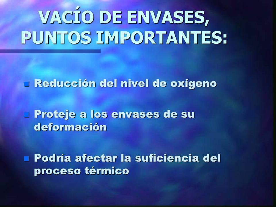 VACÍO DE ENVASES, PUNTOS IMPORTANTES: n Reducción del nivel de oxígeno n Proteje a los envases de su deformación n Podría afectar la suficiencia del p