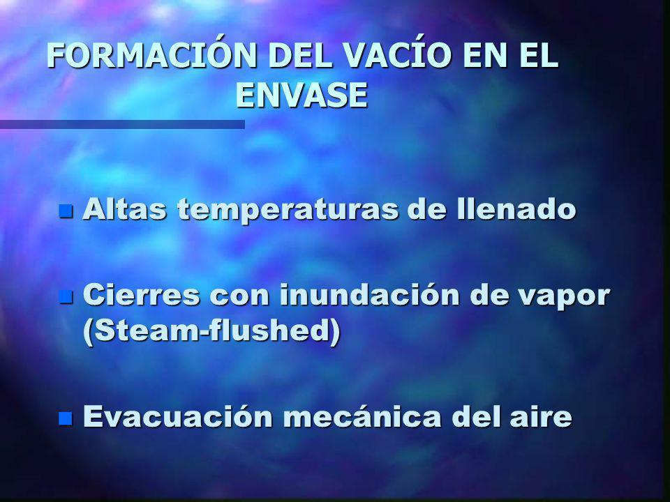 FORMACIÓN DEL VACÍO EN EL ENVASE n Altas temperaturas de llenado n Cierres con inundación de vapor (Steam-flushed) n Evacuación mecánica del aire