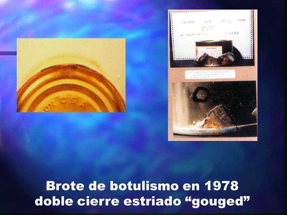 Brote de botulismo en 1978 doble cierre estriado gouged