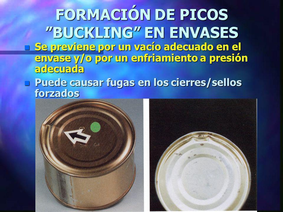 FORMACIÓN DE PICOS BUCKLING EN ENVASES n Se previene por un vacío adecuado en el envase y/o por un enfriamiento a presión adecuada n Puede causar fuga