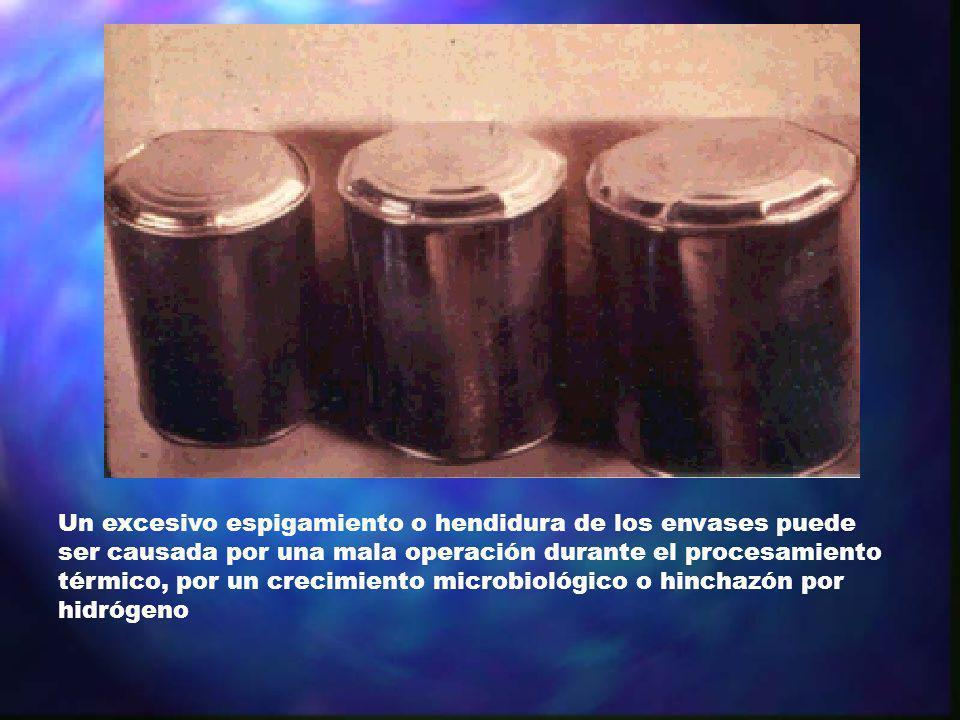 Un excesivo espigamiento o hendidura de los envases puede ser causada por una mala operación durante el procesamiento térmico, por un crecimiento micr