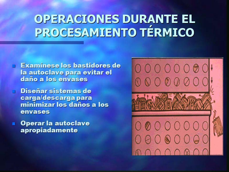 OPERACIONES DURANTE EL PROCESAMIENTO TÉRMICO n Examínese los bastidores de la autoclave para evitar el daño a los envases n Diseñar sistemas de carga/