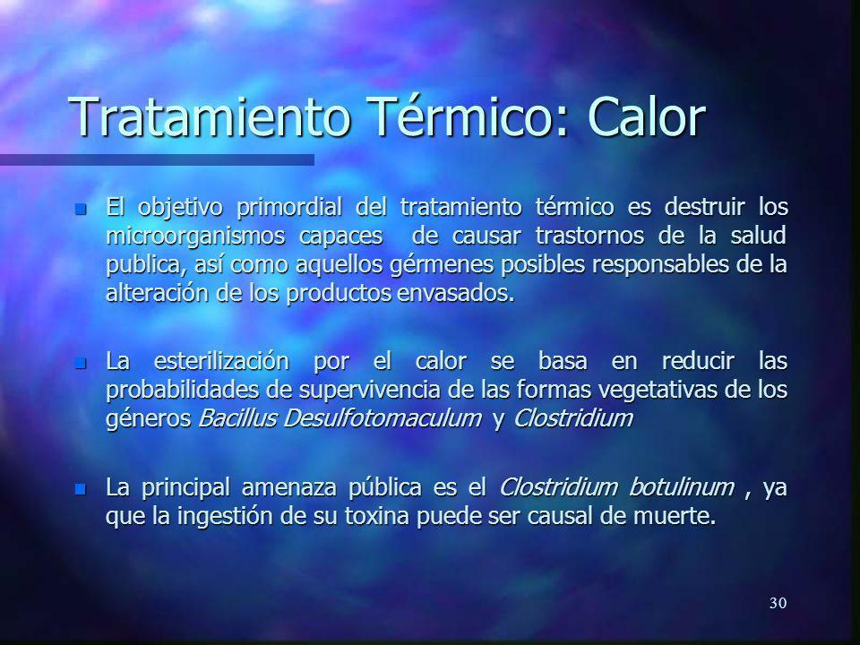 30 Tratamiento Térmico: Calor n El objetivo primordial del tratamiento térmico es destruir los microorganismos capaces de causar trastornos de la salu