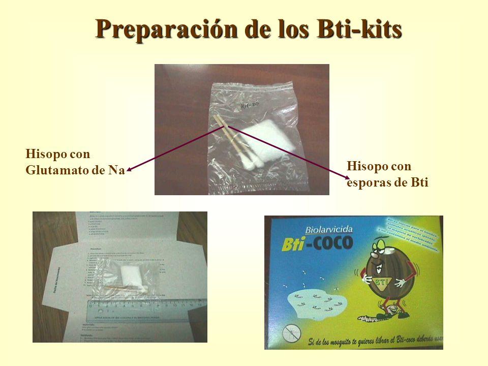 Preparación de los Bti-kits Hisopo con esporas de Bti Hisopo con Glutamato de Na