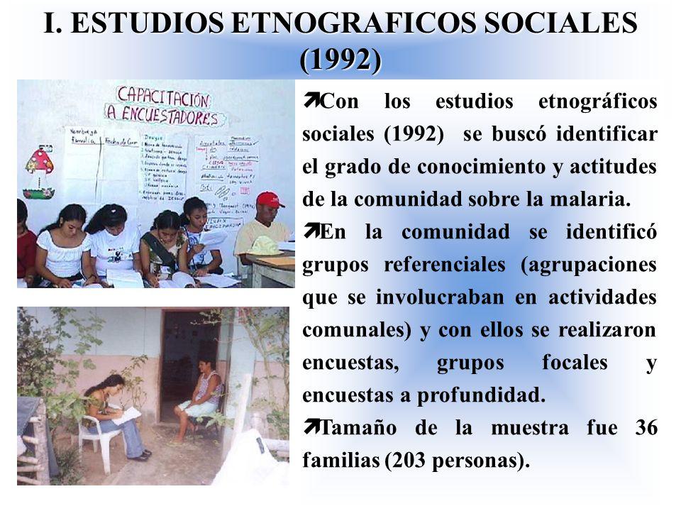I. ESTUDIOS ETNOGRAFICOS SOCIALES (1992) ì Con los estudios etnográficos sociales (1992) se buscó identificar el grado de conocimiento y actitudes de